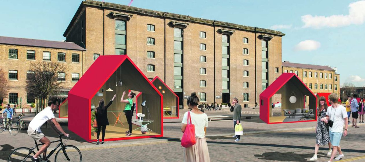 Eight Monopoly-style houses in Granary Square. Photo: PR
