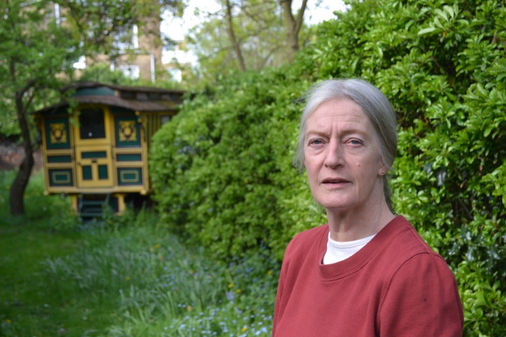 In her garden in the heart of Kentish Town. Photo: Stephen Emms