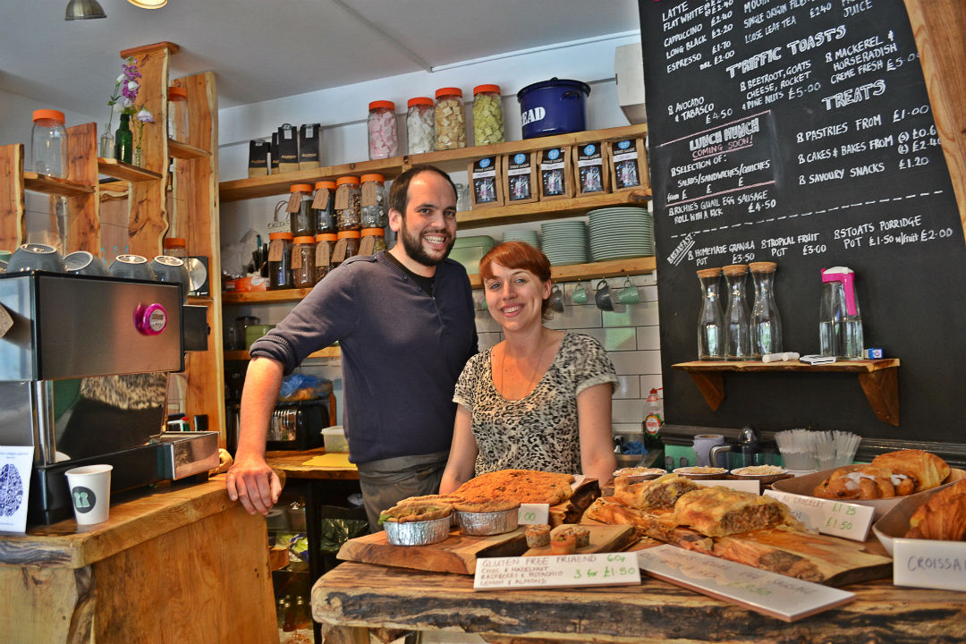 Rich and Klara behind the counter at Two Doors Down.  Photo: Stephen Emms