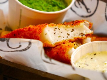 Deeply earth mushy peas: refreshing with perfectly-fried catch of the day