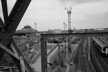 The Roundhouse and the railway lines. Photo: Brian Kelly