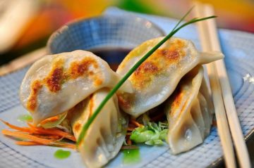 Minced chicken in these plump gyoza
