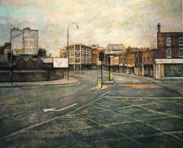 Kentish Town Road intersection,  oil on linen 120.5cm x 99cm 2016. Image copyright: Martin Brown