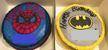 Birthday cakes made by volunteers for the charity for Twin boys